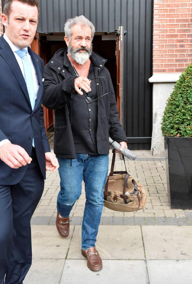 Mel Gibson spotted leaving his Dublin hotel.