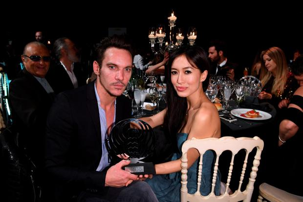 Jonathan Rhys Meyers and Mara Lane attend AMBI GALA in honor of Antonio Banderas and Jonathan Rhys Meyers on May 7, 2016 in Rome. (Photo by Venturelli/Getty Images)