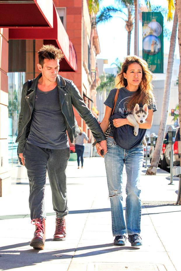 Jonathan Rhys Meyers and fiancee Mara Lane seen on December 02, 2015 in Los Angeles, California. (Photo by Bauer-Griffin/GC Images)