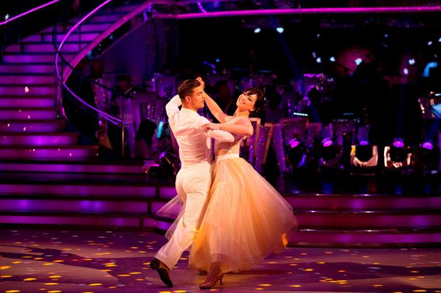 Daisy Lowe with dance partner Aljaz Skorjanec during the dress rehearsal for the live show of Strictly Come Dancing. Picture: Guy Levy/BBC/PA Wire