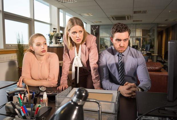 (L to R) Seana Kerslake, Amy Huberman and Laurence O'Fuarain in RTE Two dramedy Can't Cope Won't Cope