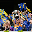 25 September 2016; Longford captain Mairéad Reynolds lifts the cup after the TG4 Ladies Football All-Ireland Junior Football Championship Final match between Antrim and Longford at Croke Park in Dublin. Photo by Piaras Ó Mídheach/Sportsfile