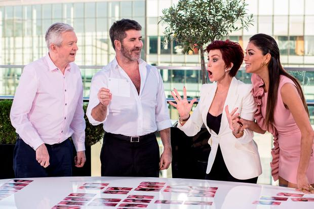 (L to R) Louis Walsh, Simon Cowell, Nicole Scherzinger and Sharon Osbourne during the Bootcamp stage for the ITV1 talent show, The X Factor. Picture: Syco/Thames/Dymond/PA Wire