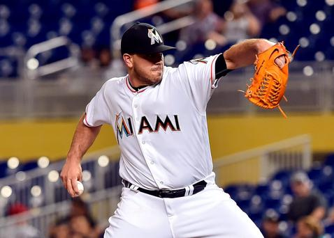 Miami Marlins starting pitcher Jose Fernandez delivers a pitch during the first inning against the Washington Nationals at Marlins Park. Picture: Steve Mitchell-USA TODAY Sports