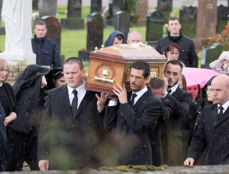 The remains of young Kiara Baird is taken to her last resting place at Drumboe Cemetary. (North West Newspix)