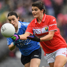 25 September 2016; Marie Ambrose of Cork in action against Sinéad Aherne of Dublin during the Ladies Football All-Ireland Senior Football Championship Final match between Cork and Dublin at Croke Park in Dublin. Photo by Brendan Moran/Sportsfile