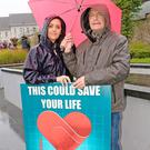 Activist Willie Doyle with his daughter Jenny Pheasey at the march in Waterford on Saturday. Photo: John Power