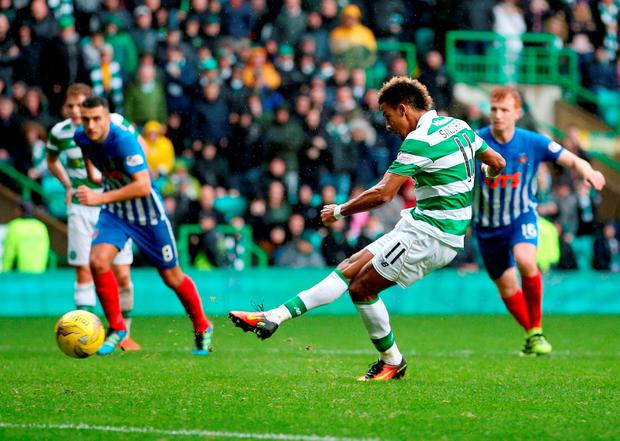 Scott Sinclair scores Celtic's fifth goal of the match. Photo: PA
