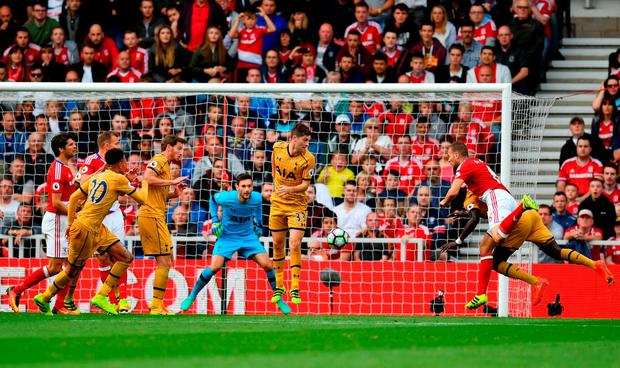 Middlesbrough's Ben Gibson of scores his sides first goal. Photo: Getty