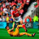 George Friend of Middlesbrough (R) is fouled by Kyle Walker of Tottenham Hotspur (L). Photo: Getty