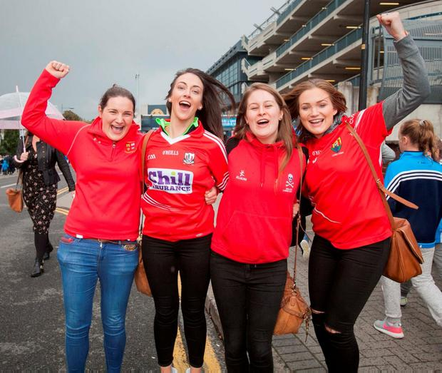 From left to right, Sinead Cremin (from Mallow), Anita Kelleher (from Mourne Abbey), Aine McKenna (from Tipperary) and Emer Harrington (from Mourne Abbey) celebrate Cork's win. Photo: Gareth Chaney