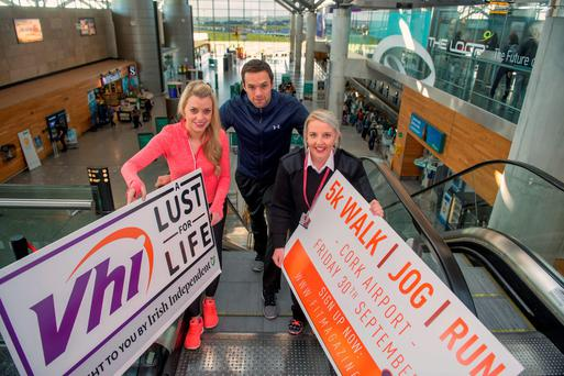 Bressie with Anne Marie Brophy of Vhi Healthcare and Siobhan O'Riordan of Cork Airport. Photo: Michael Mac Sweeney