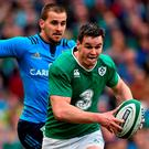 Ireland's Johnny Sexton makes a break during last year's Six Nations. Picture: Stephen McCarthy / SPORTSFILE