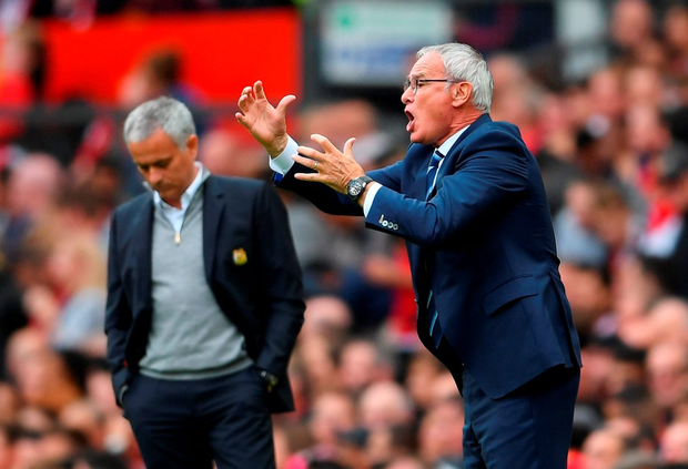 Claudio Ranieri instructs his team as Mourhino looks on. Photo: Getty