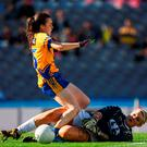 Kildare goalkeeper Mary Hulgraine of Kildare makes a save from Gráinne Nolan of Clare during the TG4 Ladies Football All-Ireland Intermediate Football Championship final. Photo by Brendan Moran/Sportsfile