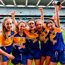 Longford players, from left, Michelle Farrell, Aoife Darcy, Claire Farrell, Aisling Reynolds and Emer Heaney celebrate. Photo by Piaras Ó Mídheach/Sportsfile