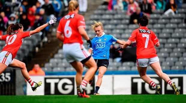 Carla Rowe of Dublin shoots for a point which was subsequently given as a wide. Photo by Brendan Moran/Sportsfile