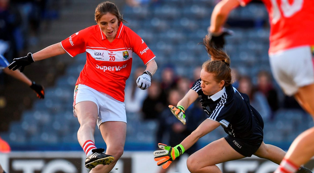 Cork's Annie Walsh scores her side's only goal of the game during the Ladies SFC final. Photo by Brendan Moran/Sportsfile