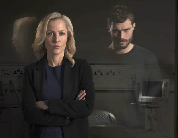 Jamie Dornan and Gillian Anderson in The Fall. Picture: BBC