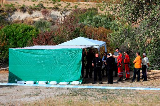 A view of the scene in Kos, Greece, as officers from South Yorkshire police start excavations in relation to the missing toddler Ben Needham