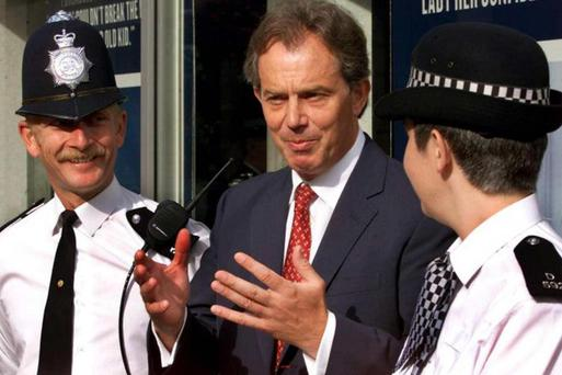 Ian Bashford, left, with then Prime Minister Tony Blair and officer Lisa Rooke in 2000