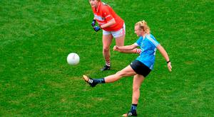 25 September 2016; Carla Rowe of Dublin shoots for a point which was subsequently given as a wide during the Ladies Football All-Ireland Senior Football Championship Final match between Cork v Dublin at Croke Park in Dublin. Photo by Piaras Ó Mídheach/Sportsfile