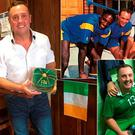 Paul McGee with an Ireland Masters cap; (top) with John Fashanu, Terry Gibson and John Scales and (bottom) with Keith Andrews after an Ireland Masters match
