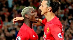 Manchester United's Zlatan Ibrahimovic (right) with teammate Paul Pogba