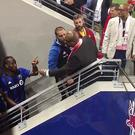 Flashpoint: Didier Drogba clashes with New York Red Bulls fans Vince (left) and Vance Moss CREDIT: ‏@KLIMBERGCALCIO
