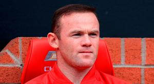 Manchester United's Wayne Rooney on the bench during the Premier League match at Old Trafford