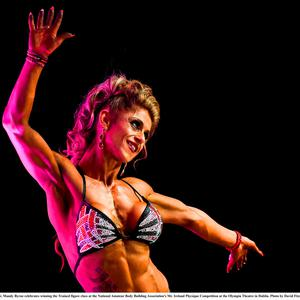 26 September 2016; Mandy Byrne celebrates winning the Trained figure class at the National Amateur Body Building Association's Mr. Ireland Physique Competition at the Olympia Theatre in Dublin. Photo by David Fitzgerald/Sportsfile
