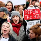 Protesters at the 'Repeal the Eighth' pro-choice march in Dublin . Photo: Gerry Mooney