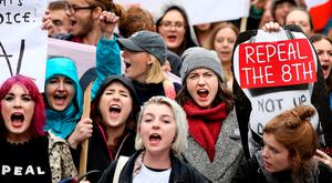 Protesters at the 'Repeal the Eighth' pro-choice march in Dublin city centre last Saturday. Photo: Gerry Mooney