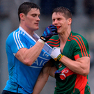 Diarmuid Connolly tussles with Lee Keegan Photo by Piaras Ó Mídheach/Sportsfile