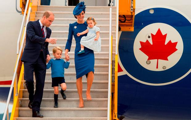 George with his parents and sister arriving in Canada at the weekend. Photo by Dominic Lipinski-Pool/Getty Images