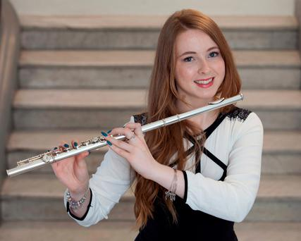 Flautist Aviva-Brianna Kearney (17) from Clontarf helped launch the awards. Photo: Peter Houlihan
