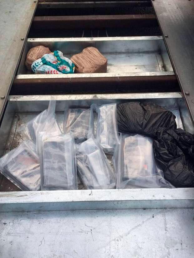 Cocaine with an estimated street value of £960,000 (€1.1m), heroin worth £500,000 (€576,000), and cannabis resin valued at £2,000 (€2,300) was found after officers stopped a car and trailer on the West Bank Road in Belfast.