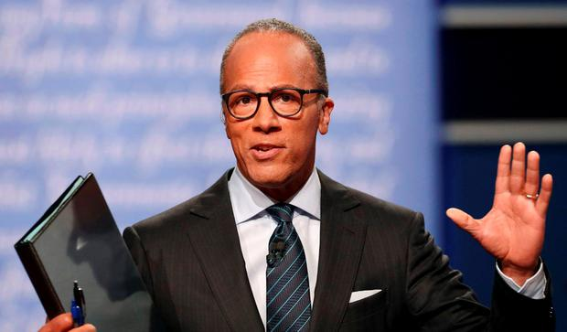 Debate host Lester Holt speaks to the audience before the start of the first debate between Republican US presidential nominee Donald Trump and Democratic US presidential nominee Hillary Clinton at Hofstra University in Hempstead, New York