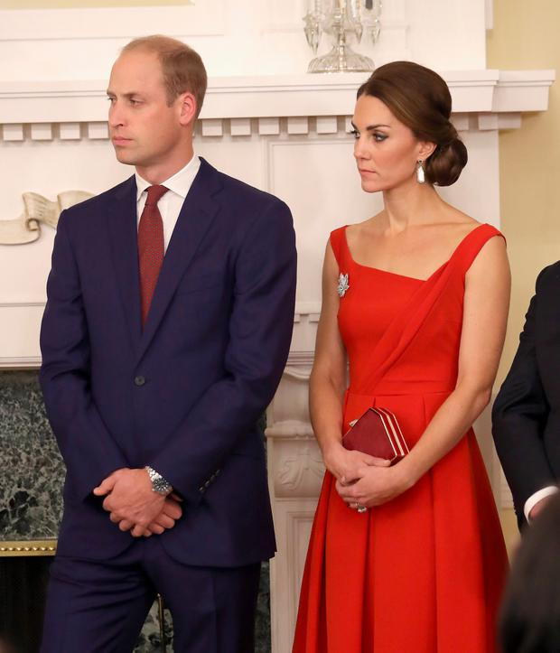 The Duke and Duchess of Cambridge attend a reception at Government House in Victoria, during the third day of their tour of Canada. PRESS ASSOCIATION Photo. Picture date: Monday September 26, 2016. See PA story ROYAL Canada. Photo credit: Chris Jackson/PA Wire