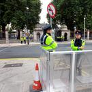 Garda crowd control barriers on Molesworth Street today for the resumption of the Dail. Photo: Tony Gavin