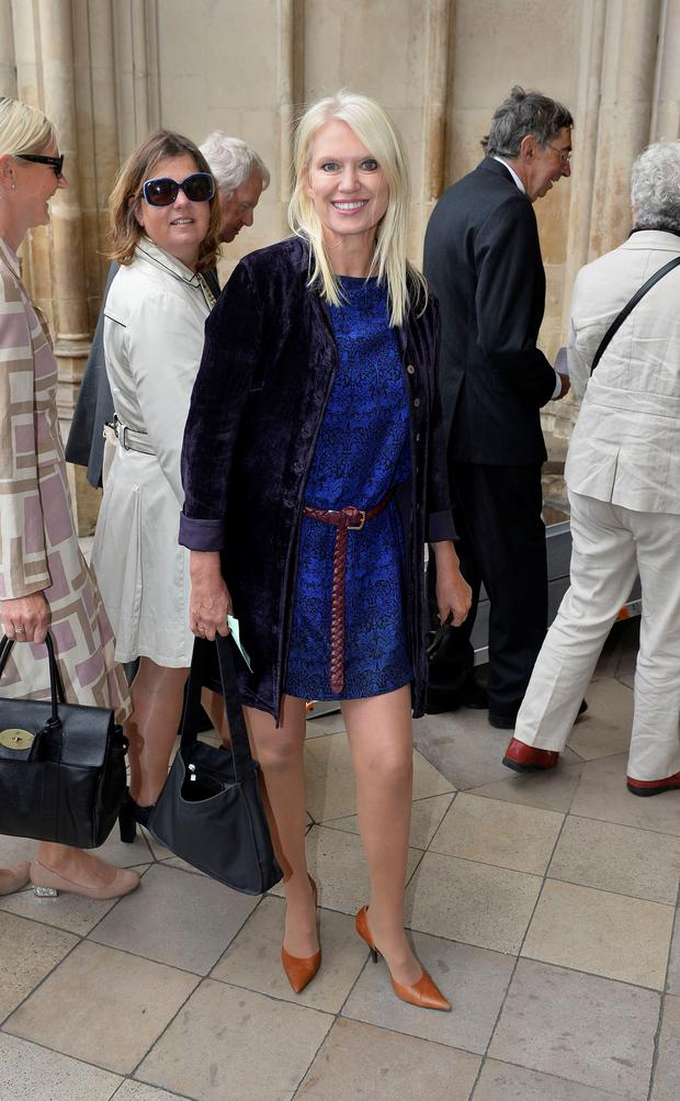 Anneka Rice arrives for the Service of Thanksgiving for Sir Terry Wogan at Westminster Abbey, London. Photo: Hannah McKay/PA Wire