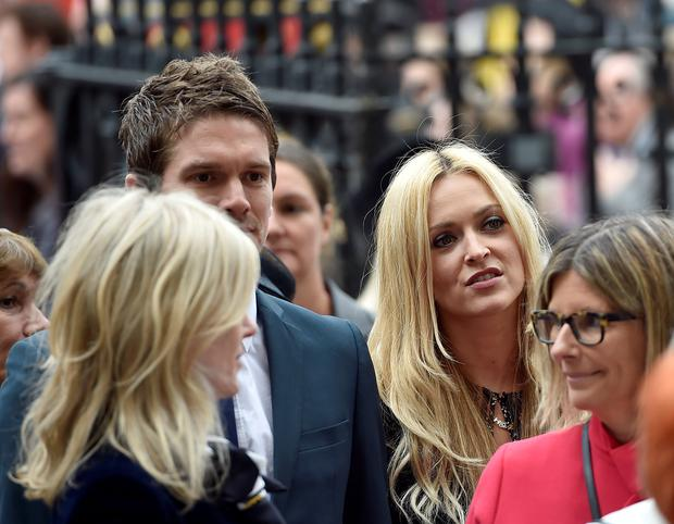 Fearne Cotton and Jesse Wood arrive for the Service of Thanksgiving for Sir Terry Wogan at Westminster Abbey, London. Photo: Hannah McKay/PA Wire