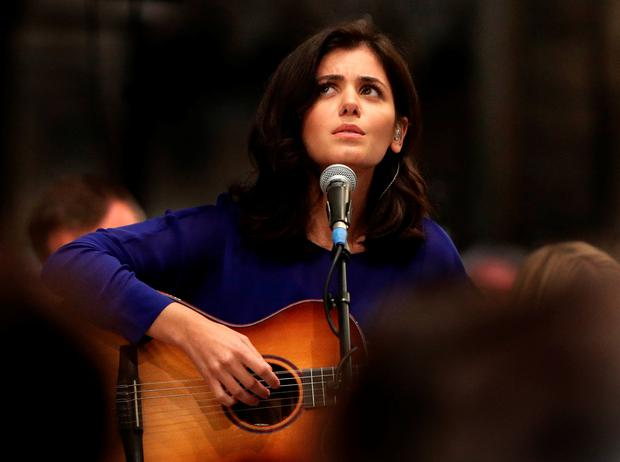 Katie Melua performs during the Service of Thanksgiving for Sir Terry Wogan at Westminster Abbey, London. Photo: Yui Mok/PA Wire
