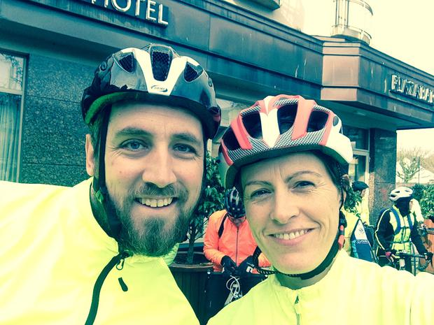 Rosaleen pictured with her brother ahead of the race, where her heart stopped beating, and fellow cyclists had to administer CPR