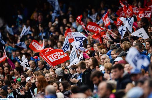 25 September 2016; A general view of the record crowd during the Ladies Football All-Ireland Senior Football Championship Final match between Cork and Dublin at Croke Park in Dublin. Photo by Seb Daly/Sportsfile