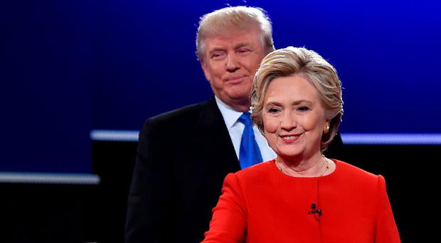 Donald Trump and Hillary Clinton after the debate Picture: AFP