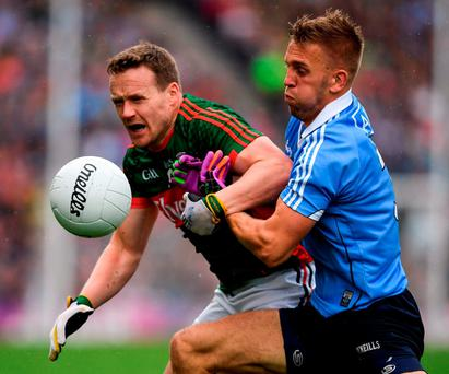 Andy Moran of Mayo in action against Jonny Cooper of Dublin in the final on September 18. Photo by Ray McManus/Sportsfile