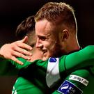 Sean Maguire, left of Cork City celebrates with Kevin O'Connor after scoring his sides second goal during the SSE Airtricity League Premier Division match between Cork City and Galway United at Turners Cross in Cork. Photo by David Maher/Sportsfile