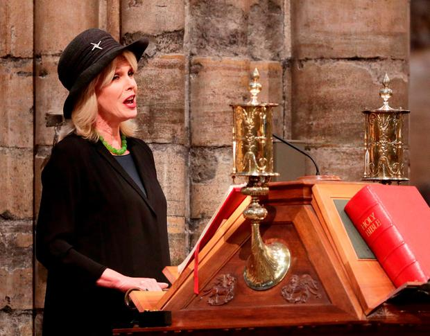 Joanna Lumley read a poem to the serviceCarr. Photo credit: Yui Mok/PA Wire