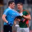 Lee Keegan gets to grips with Diarmuid Connolly